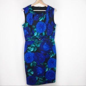 Enfocus Studio Blue Floral Belted Bress (14)